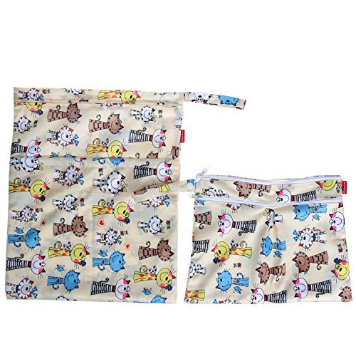 Cartoon Animals Swimsuit and Gym Pumping Parts Damero 2pcs Travel Wet and Dry Bag Reusable Wet Bags Organizer with Two Zippered Pocket for Cloth Diaper