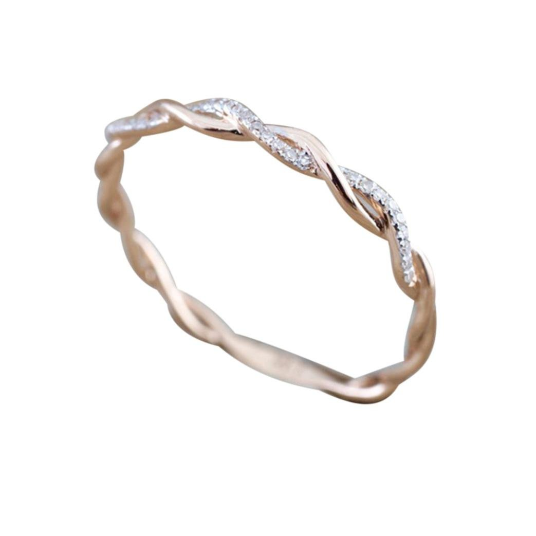 Balakie Girl Thin Twisted Diamond Engagement Ring Stacking Band Anniversary Crystal Ring (Rose Gold, 9)