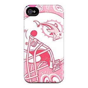 Scratch Protection Hard Phone Covers For Iphone 4/4s With Custom Lifelike Miami Dolphins Pattern Cases-best-covers