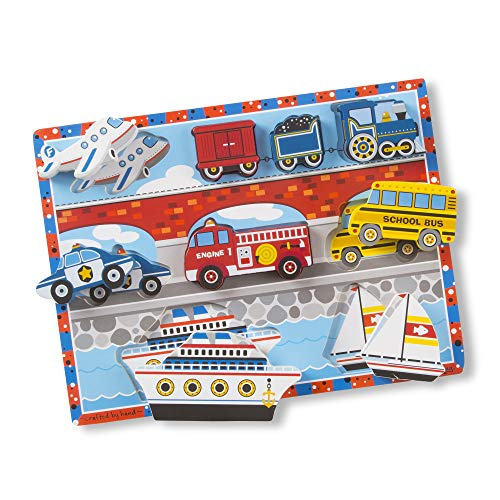 Puzzle Plane - Melissa & Doug Vehicles Wooden Chunky Puzzle - Plane, Train, Cars, and Boats (9 pcs)