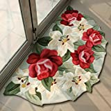 Elegant Kitchen Rugs MeMoreCool Beautiful Flowers Area Rugs Modern Anti-slip Carpet Bedroom/Living Room/Bathroom/Kitchen Home Decoration Washable Rugs Welcome Rug for Front Door Indoor Outdoor Welcome Mat