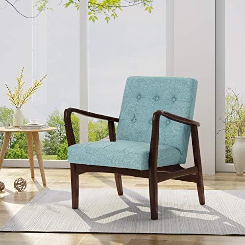 Christopher Knight Home Conrad Fabric Mid-Century Birch Club Chair, Blue and Dark Espresso