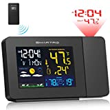 SMARTRO Projection Alarm Clocks for Bedrooms with Weather Station, Wireless Indoor Outdoor Thermometer, Temperature Humidity Monitor Gauge Hygrometer