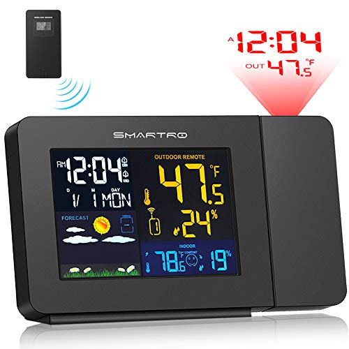 SMARTRO Projection Alarm Clock for Bedrooms with Weather Station, Wireless Indoor Outdoor Thermometer, Temperature Humidity Monitor Gauge Hygrometer (Clock Alarm Bedroom)