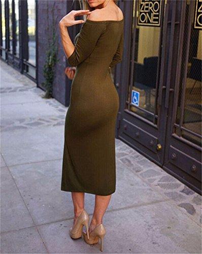 Qiyun - Vestido para mujer Army Green