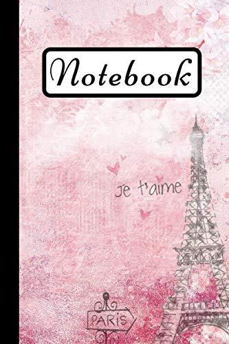 Notebook: Paris Eiffel Tower Notebook, Pink Art Design, 6X9 (Outdoor Tower Eiffel)