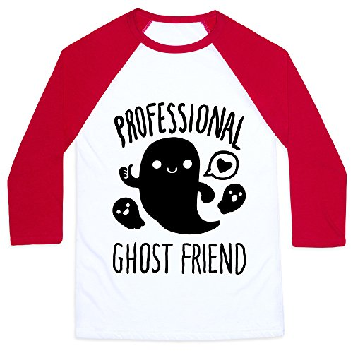 LookHUMAN Professional Ghost Friend White/Red Large Mens/Unisex Baseball Tee