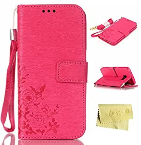 Galaxy S7 Case,Galaxy S7 Wallet Case,MT Mall(TM) for Samxung Galaxy S7 PU Leather Kickstand Flip Folio Case[Built in Credit Card Slots]with Butterfly Pattern