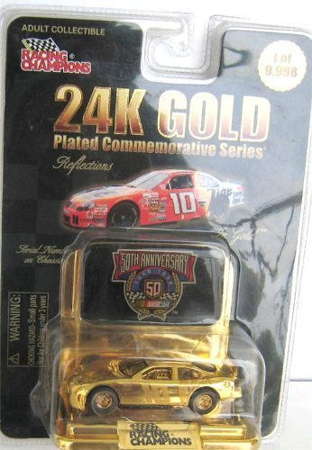 24k Gold Plated Figure - Nascar 24K Gold Plated 50th Anniversary Ricky Rudd No #10 Tide Car racing champions