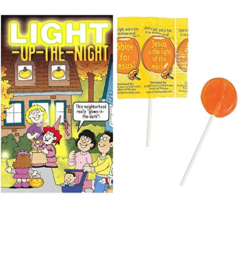 Bulk Halloween Candy Light Up The Night Bible Tracts With Jesus Is My Light Suckers Lollipops - 25 Pack, Christian Halloween Candy, Religious Handouts