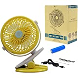 United States store Battery Operated Clip on Fan,Mini Desk Fan Portable Handheld or USB,Small Personal Electric Fan for Baby Stroller Adjust 360 Degrees,Quietness (8 x 6.4 x 3.9, Yellow)