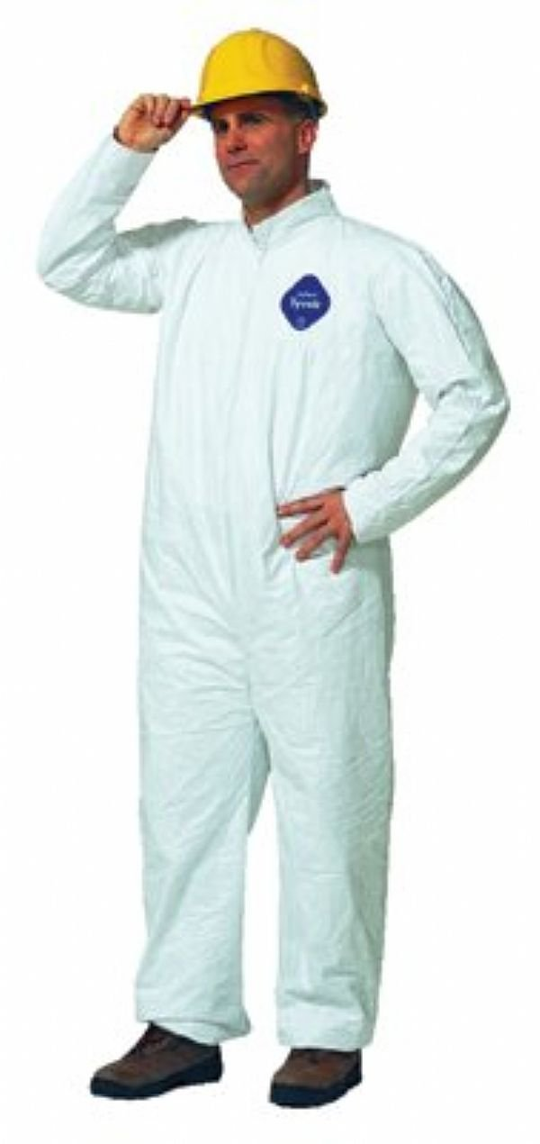 DuPont Tyvek Coveralls, Collar Front Zipper Closure, Open Wrists/Ankles, Large