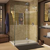 DreamLine Quatra Lux 34 5/16 in. D x 46 5/16 in. W, Frameless Hinged Shower Enclosure, 3/8'' Glass, Chrome Finish