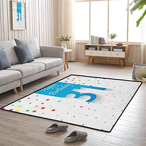 Floor Mat 31st Birthday Kids CarpetPlaymat Rug 31 Years Old Age Happy Greetings Stylized Text Confetti Rain Colorful Dots 70