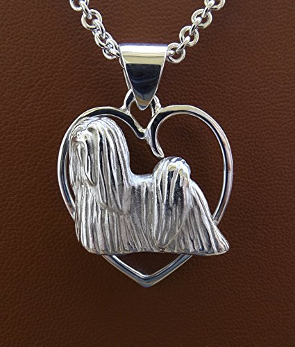 - Large Sterling Silver Lhasa Apso Standing Study On A Heart Pendant