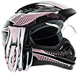 Dual Sport Helmet Combo w/Gloves - Off Road Motocross UTV ATV Motorcycle Enduro - Pink - Medium