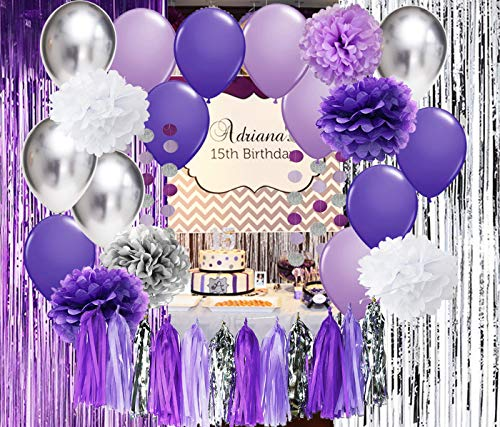 Qian's Party Bridal Shower Decorations Purple White Silver