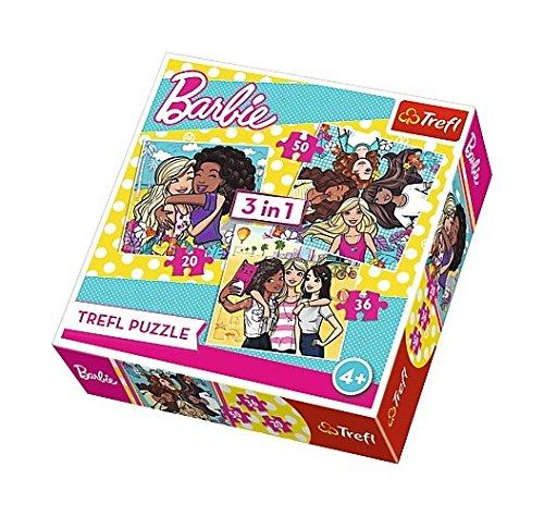 Trefl–Puzzle 3in 1–Barbie–20/36/50Pezzi, 34827