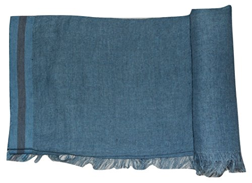 Hand Spun, Handwoven Shorty Weave Pure Linen Fabric Triple Stripe edge Scarf. X1425 by Exclusive Handcrafts (Image #5)