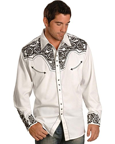 Scully Men's Embroidered Shirt, White/Pewter, XL (Cuff Shirt Fur)