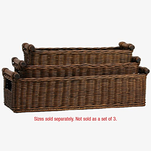 The Basket Lady Long Narrow Pole Handle Wicker Basket