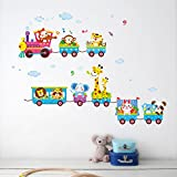 animal on the train car wall stickers home decorations decals mural art removable X020 diy adesivo de parede