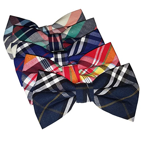 Ravenhill Premium Adjustable Neck Tie Bowties 5-pack (Plaid) (medium, Plaid)