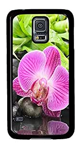 thin Samsung S5 cover Stream Flowers PC Black Custom Samsung Galaxy S5 Case Cover