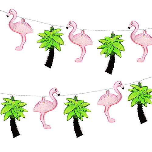 10 LED Flamingo Palm Tree Shaped String Light, Battery Operated Fairy Lamp Gift, Adorable Flamingo Decor for Bedroom, Living Room, Christmas, Birthday Party-5.9ft