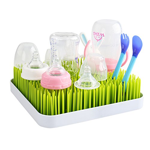 Baby Bottle Green Grass Countertop Drying Rack, Premium Lawn Drying Rack Kitchen Countertop Dish Drainer Dryer Mat for Baby Bottles, Dishes and Accessories Sotoboo