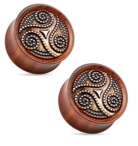 Organic Ear Bone Plug (Dotted Tribal Swirl Organic Rose Wood Saddle Fit Double Flared Plugs Ear Gauges - Sold As Pair (10mm - 00GA))
