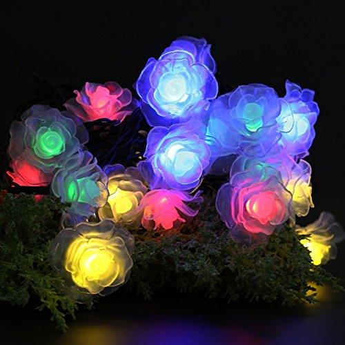 Multi-color 4.8M 20 LED Solar Powered Rose Flower String ...