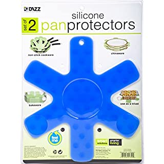 Smart Design Silicone Pan & Plate Protector - Trivet - for Bakeware, Cookware, Pots, Pans - Protects Against Scratches & Cracks (2 Pack) (13.75 x 13.75 Inch) [Blue]