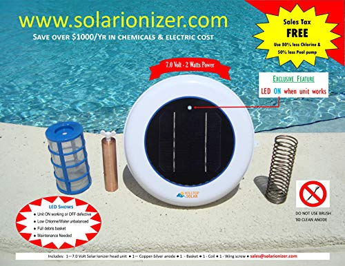 (Solar Pool Ionizer Purifier with LED (ON if Unit Works) - 7.0 Volts - Low Maintenance - Uses 80% Less Chlorine & Saves Money on Electricity)
