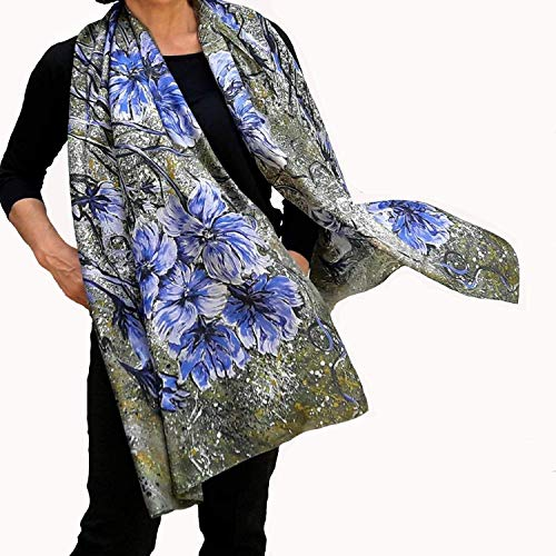 Green Silk Scarf Hand Painted and Printed Olive with Blue Flowers Long Shawl, Anniversary Women Gift