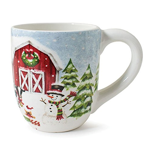 (Burton and Burton 1850170 Snowy Farm Scene with Snowman Mug, Multicolor)