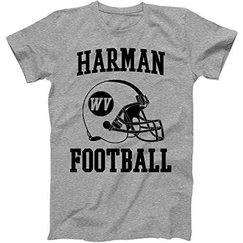Vintage Football City Harman Shirt for State West Virginia with WV on Retro Helmet Style Grey Size Medium