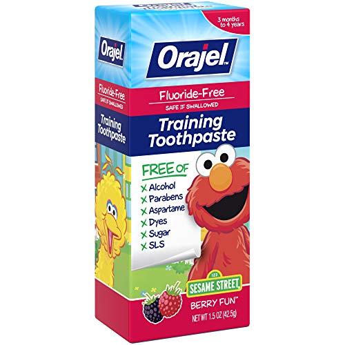 51ZPyXZe oL - Orajel Elmo Fluoride-Free Training Toothpaste, Berry Fun, One 1.5oz Tube: Orajel #1 Pediatrician Recommended Brand For Kids Non-Fluoride Toothpaste
