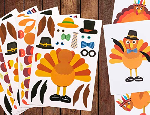 Thanksgiving Craft Projects (Make-A-Turkey Stickers Thanksgiving Party Games/Favors/Supplies - Set Of)