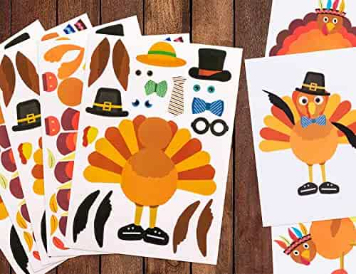 Make-A-Turkey Stickers Thanksgiving Party Games/Favors/Supplies - Set Of 20