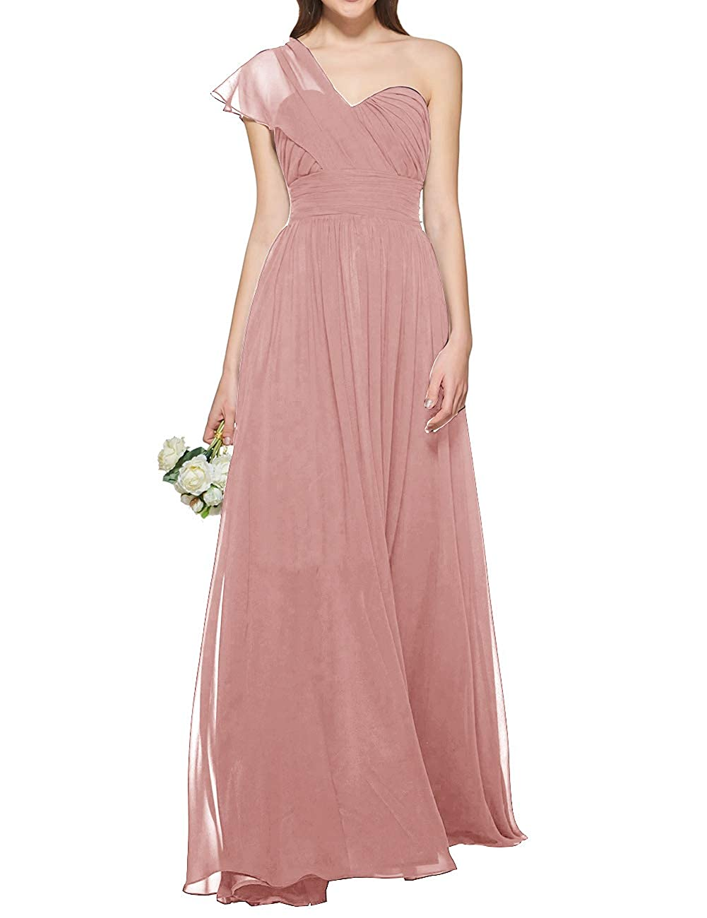 bluesh Uther Women's One Shoulder Bridesmaid Dress Long Prom Evening Gown A Line
