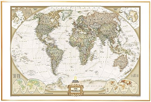 World Map by National Geographic (Mounted on Foamboard) with Shiny Gold Finish Edge Trim - Mounted Foam