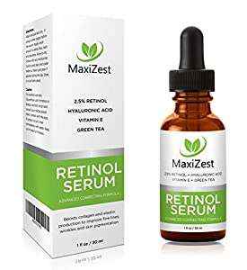 MaxiZest Retinol Serum 2.5% - With Hyaluronic Acid, Vitamin E & Green Tea - Our Best Anti Aging & Anti Wrinkle Serum for Face - 1oz
