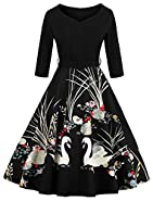 Joansam Women's 50s Vintage Floral V-Neck Midi Dress 3/4 Sleeve Cocktail Party A Line Swing Dresses With Belt