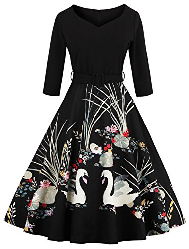 Joansam Vintage 1950s Cocktail Dress Retro Swan Painting Gown JS1338B-M -