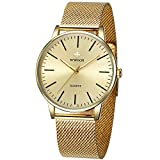 Mens Simple Slim Watch Analog Quartz Waterproof Gold Stainless Steel Mesh Band Thin Casual Dress Wrist Watches for Men