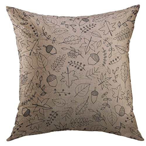 Mugod Decorative Throw Pillow Cover for Couch Sofa,Autumn Contours Foliage Berries Acorns on the Beige Maple Sycamore Birch Beech Oak Tree Leaves Home Decor Pillow case 18x18 Inch ()