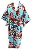 JOYTTON Girl's Cotton Floral Kimono Bathrobe Flower Girl Robe (8,Turquoise)