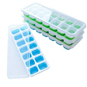 Silicone Ice Cube Trays, frdzsw Ice Cube Moulds with Spill-Resistant Removable Lids, LFGB Certified,BPA Free,Stackable Easy Release,Best Ice Trays for Freezer, Whiskey, Cocktail (4 Pack)