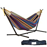 Hammock,WYTong Double Hammock With Space Saving Steel Stand+Portable Carrying Case for Patio Yard and Beach Outdoor (Tropical)
